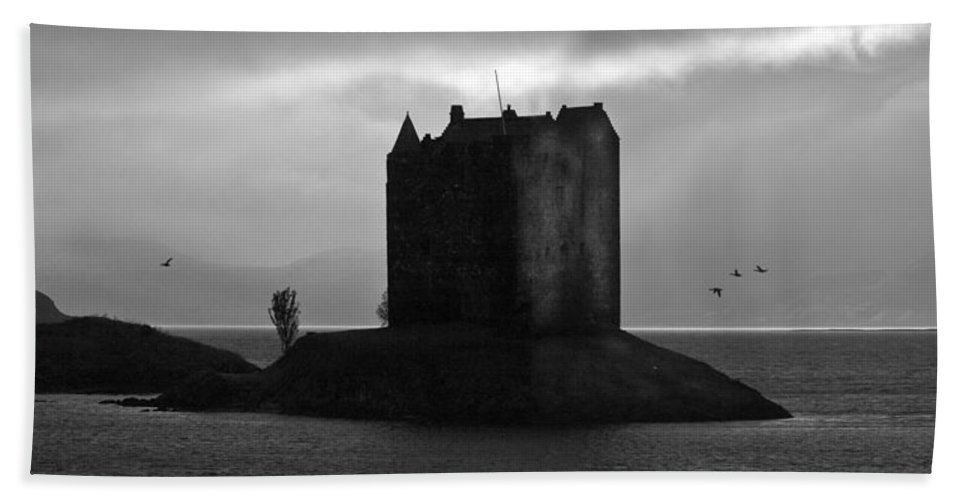 Appin Hand Towel featuring the photograph Castle Stalker Dusk Silhouette by Gary Eason