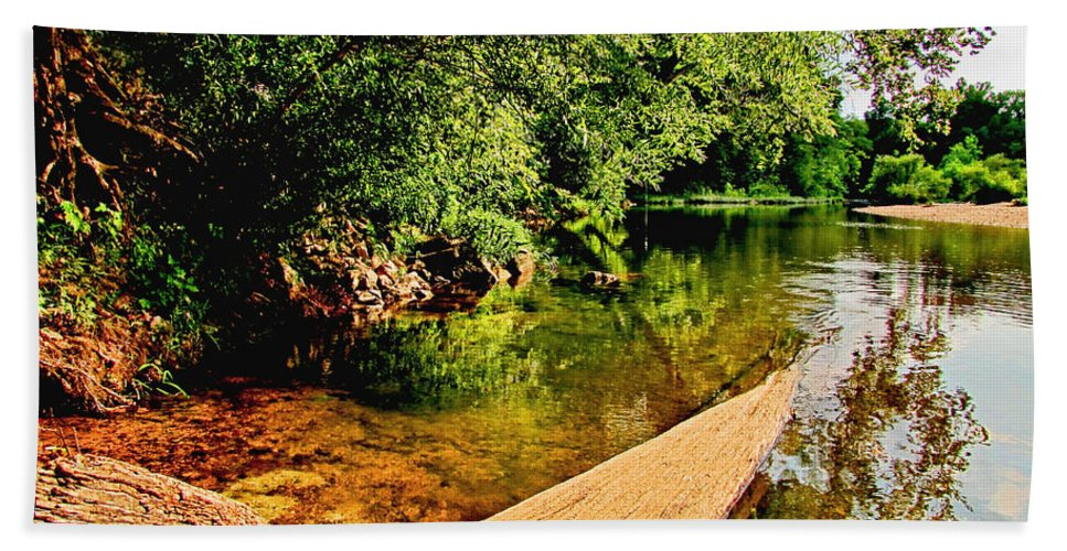Nature Bath Sheet featuring the photograph Castor River View by Debbie Portwood
