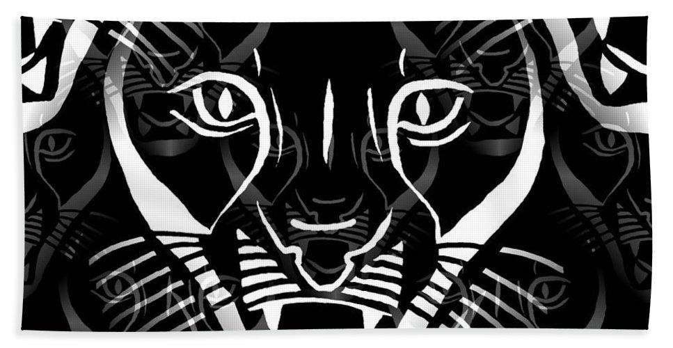 Cat Bath Sheet featuring the digital art Cat Mask by Barbara Moignard