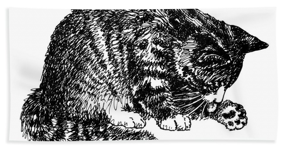 Cat Bath Sheet featuring the drawing Cat-tabby-posters-1 by Gordon Punt