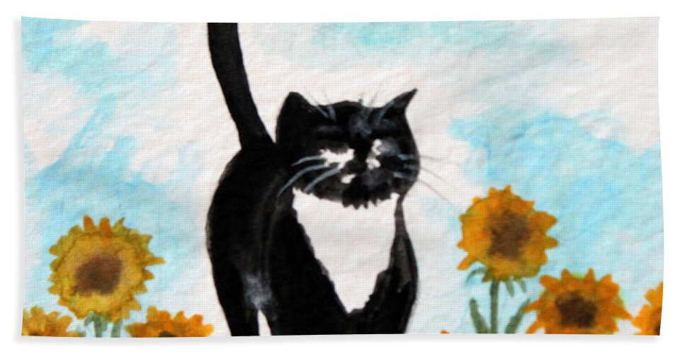 Cat Hand Towel featuring the painting Cat Walk Through The Sunflowers by Elizabeth Robinette Tyndall