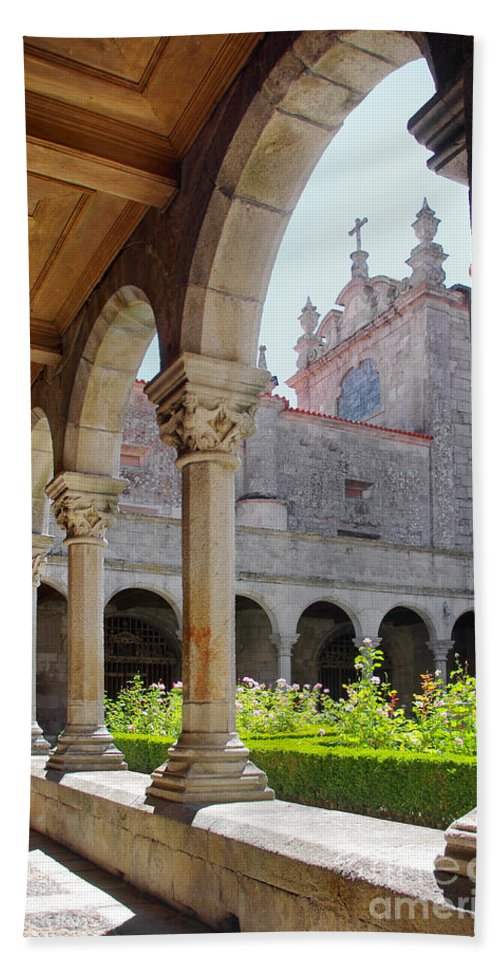 Abbey Bath Sheet featuring the photograph Cathedral Cloister by Carlos Caetano