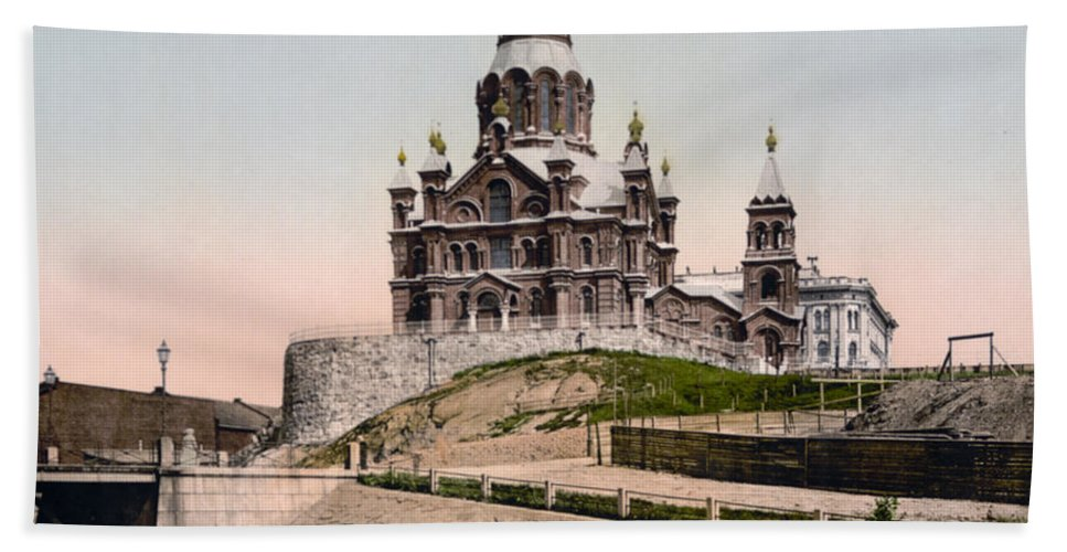 Helsinki Hand Towel featuring the photograph Cathedral In Helsinki Finland - Ca 1900 by International Images