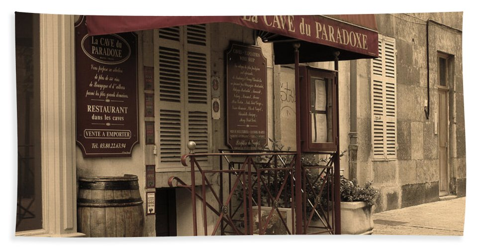 Wine Shop Bath Sheet featuring the photograph Cave Du Paradoxe Wine Shop In Beaune France by Greg Matchick