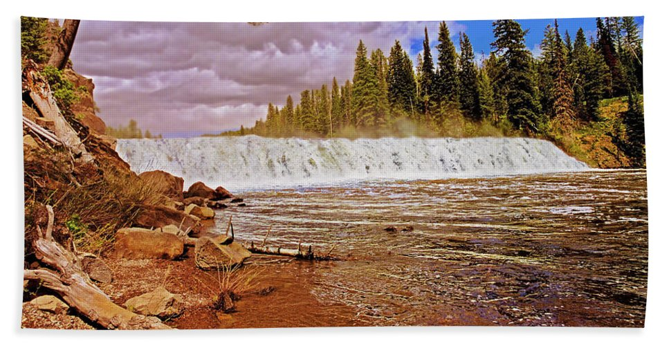 Wyoming Bath Sheet featuring the photograph Cave Falls by Rich Walter