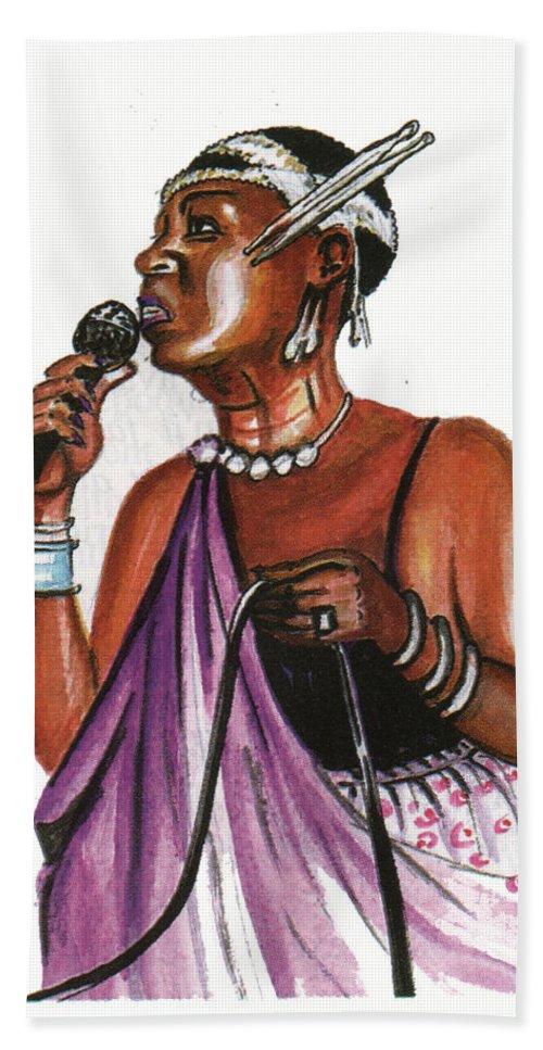 Portraits Bath Sheet featuring the painting Cecile Kayirebwa by Emmanuel Baliyanga