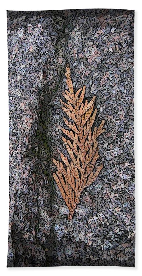Cedar Hand Towel featuring the digital art Cedar On Granite by Tim Allen