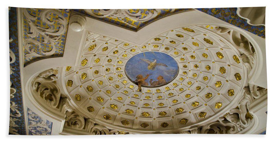 Wilanow Palace Bath Sheet featuring the photograph Ceiling With Foot Hanging Out by Jon Berghoff