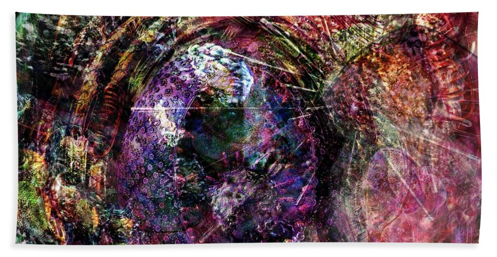 Abstract Bath Sheet featuring the digital art Cell Dreaming 1 by Russell Kightley