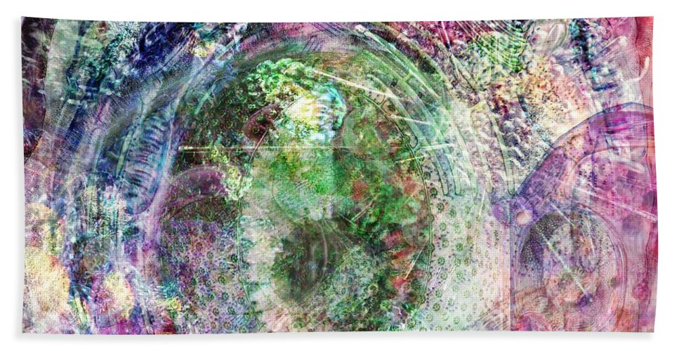 Abstract Bath Sheet featuring the digital art Cell Dreaming 2 by Russell Kightley