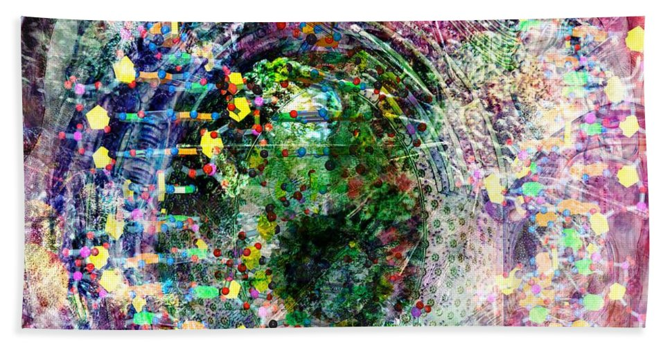 Abstract Bath Sheet featuring the digital art Cell Dreaming 3 by Russell Kightley