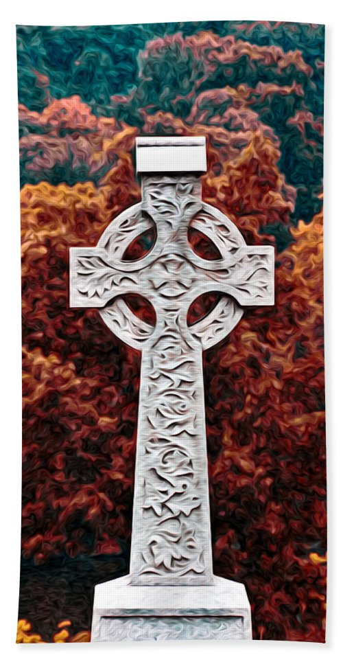 Celtic Cross Bath Sheet featuring the photograph Celtic Cross by Bill Cannon