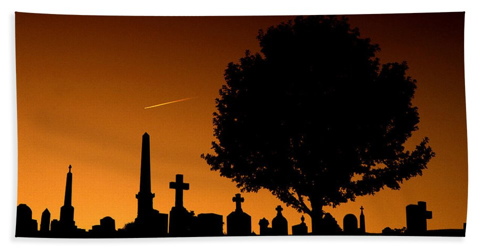 Cemetery Bath Sheet featuring the photograph Cemetery And Tree by Mike Nellums