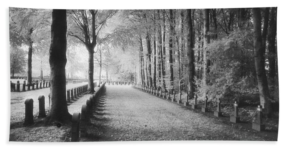 World War I; One; Wwi; Ww1; 1st; First; Great; 1; Wooded; Woods; Wood; Rows; Tombstones; Gravestones; War Tomb Hand Towel featuring the photograph Cemetery At Ypres by Simon Marsden