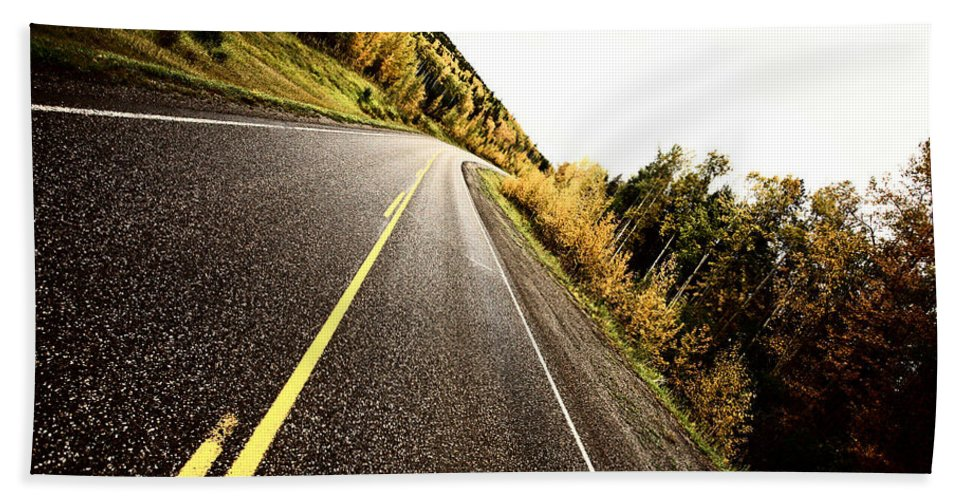 Center Lines Bath Sheet featuring the photograph Center Lines Along A Paved Road In Autumn by Mark Duffy