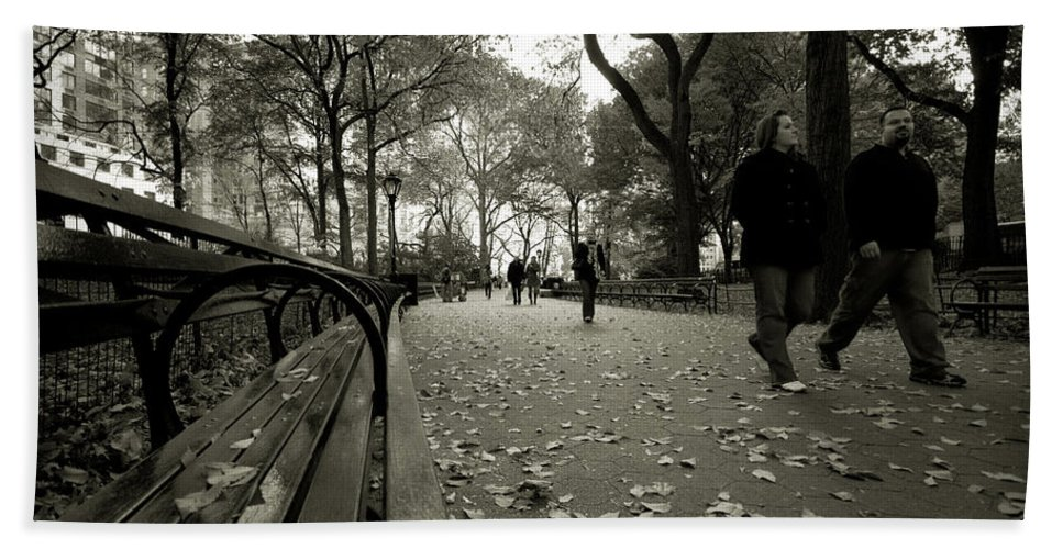 Abstract Bath Sheet featuring the photograph Central Park Bench by Sean Wray