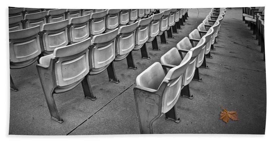 Art Bath Sheet featuring the photograph Chair Seating In An Arena With Oak Leaf by Randall Nyhof