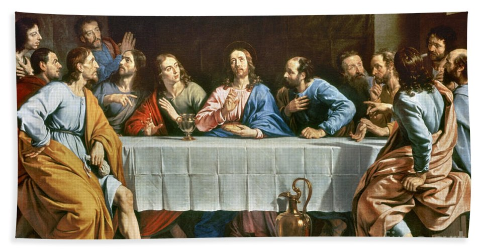 Champaigne Hand Towel featuring the photograph Champaigne: Last Supper by Granger