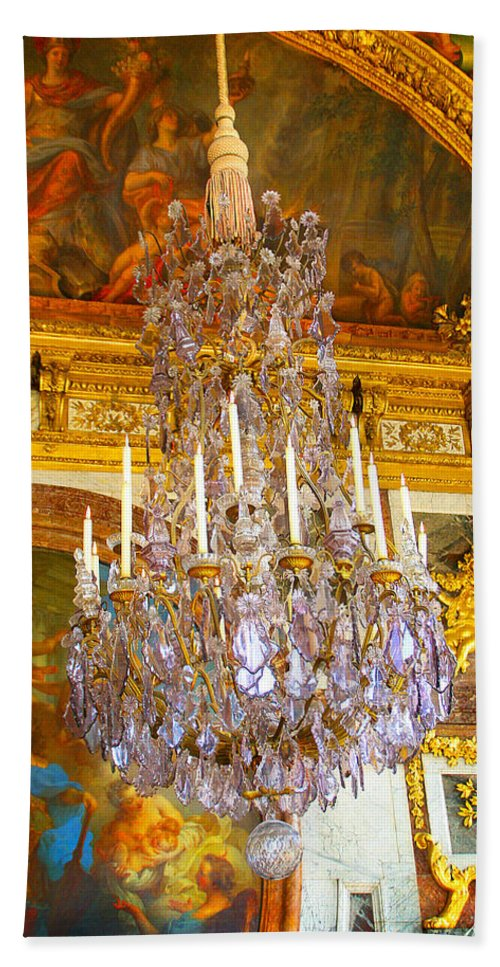 Chandelier Bath Sheet featuring the photograph Chandelier At Versailles by Diana Haronis