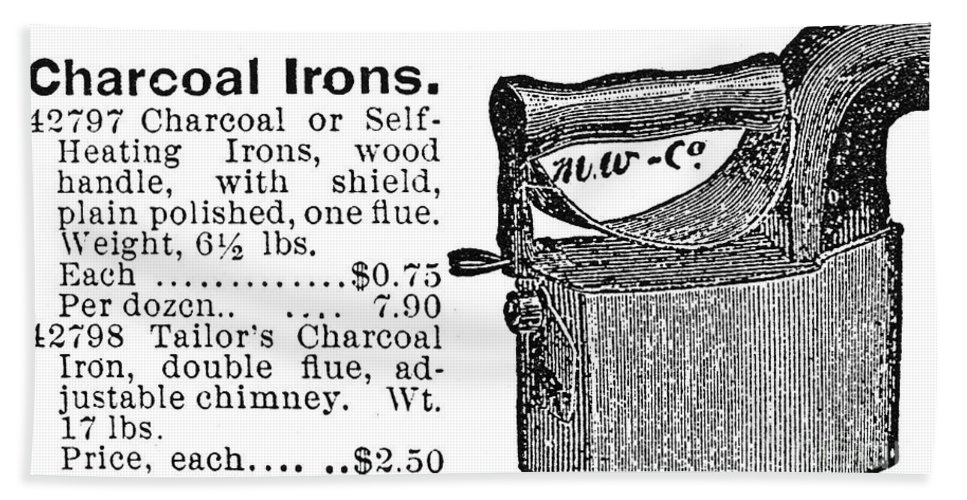 -domestic- Hand Towel featuring the photograph Charcoal Iron, 1895 by Granger