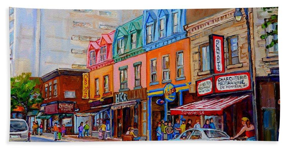 Montreal Bath Sheet featuring the painting Charcuterie Hebraique Schwartz by Carole Spandau