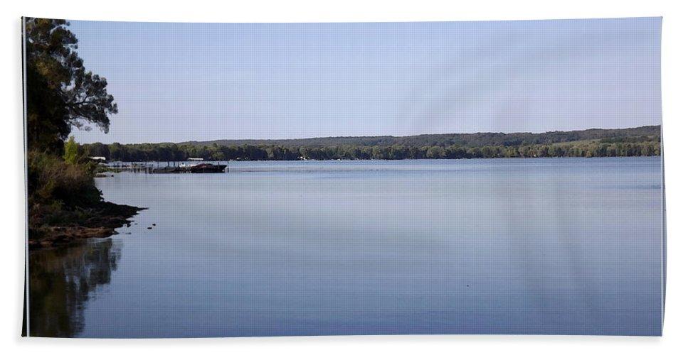 Chautauqua Lake Hand Towel featuring the photograph Chautauqua Lake With Watercolor Effect by Rose Santuci-Sofranko