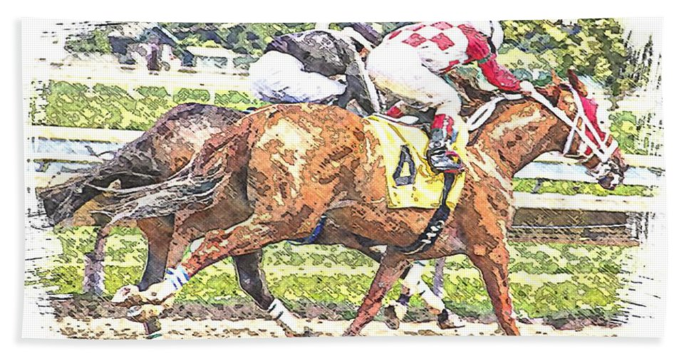 Horse Race Racing Abstract Jockeys Hand Towel featuring the photograph Checkers by Alice Gipson
