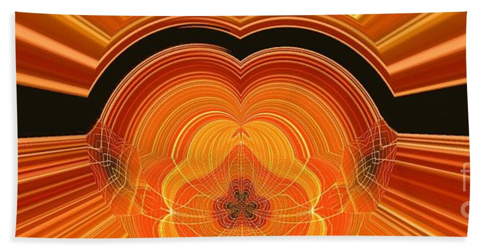 Abstract Bath Sheet featuring the digital art Cheese Cloth Sunrise by Ron Bissett