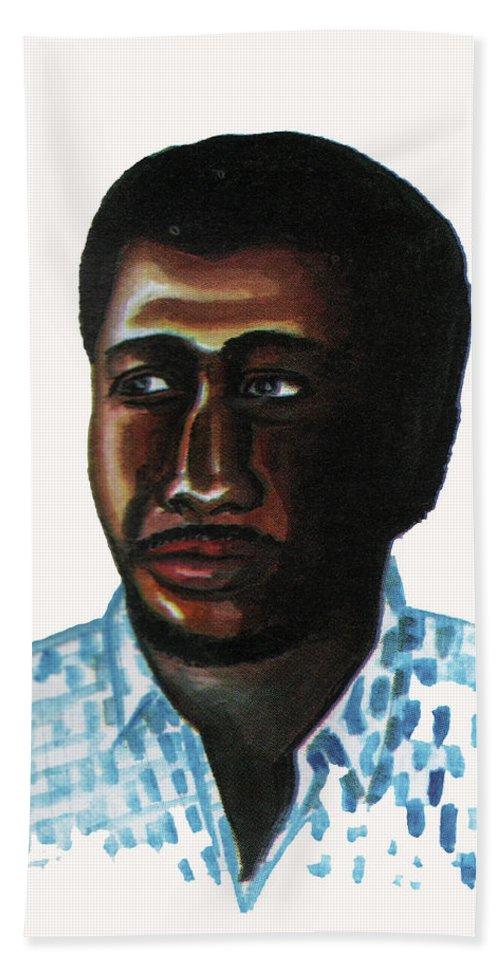 Portraits Bath Sheet featuring the painting Cheick Oumar Sissoko by Emmanuel Baliyanga