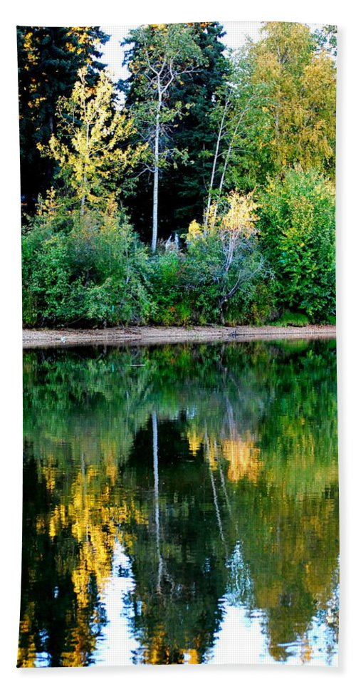 Chena Hand Towel featuring the photograph Chena River View by Kathy Sampson