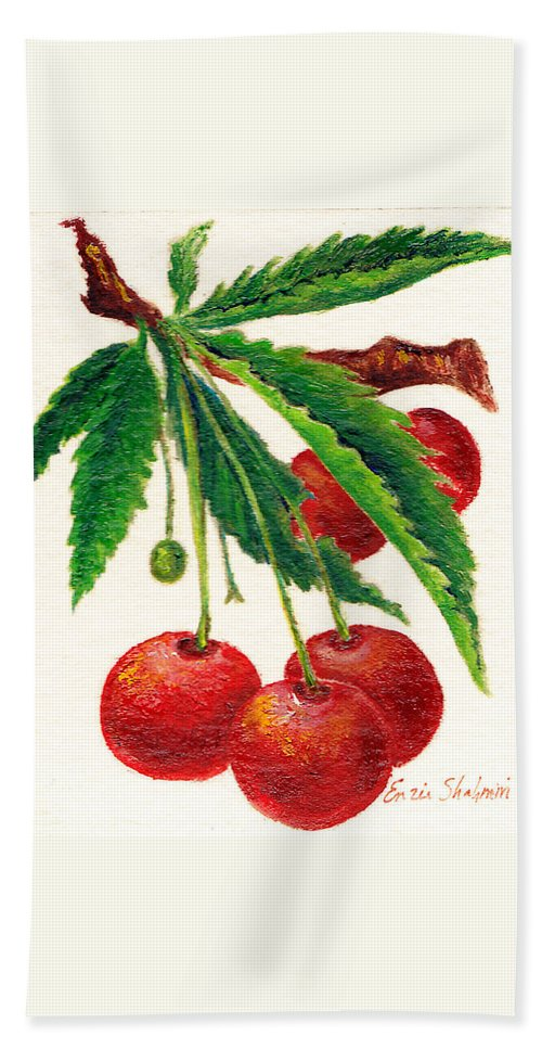 Nature Hand Towel featuring the painting Cherries On A Branch by Portraits By NC