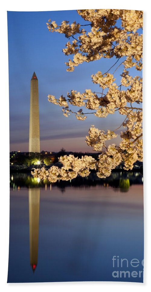Dawn Hand Towel featuring the photograph Cherry Blossoms by Brian Jannsen