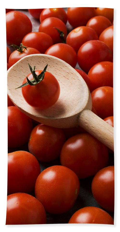 Tomatoes Hand Towel featuring the photograph Cherry Tomatoes And Wooden Spoon by Garry Gay