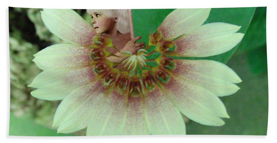 Fleurogeny Art Bath Sheet featuring the digital art Cherub by Torie Tiffany