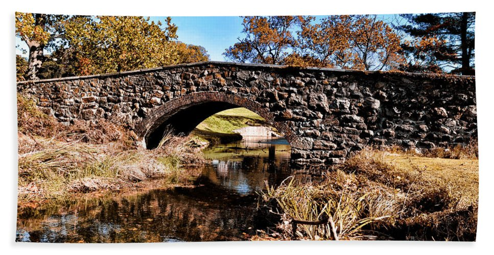 Chester County Bow Bridge Hand Towel featuring the photograph Chester County Bow Bridge by Bill Cannon