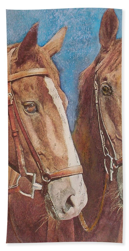 Horse Bath Sheet featuring the painting Chestnut Pals by Richard James Digance
