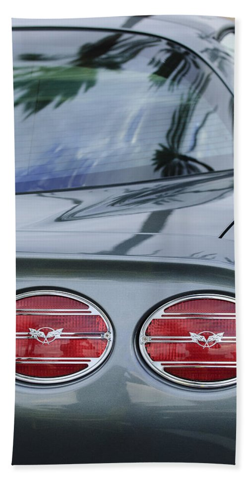 Chevrolet Corvette Bath Sheet featuring the photograph Chevrolet Corvette Tail Light by Jill Reger