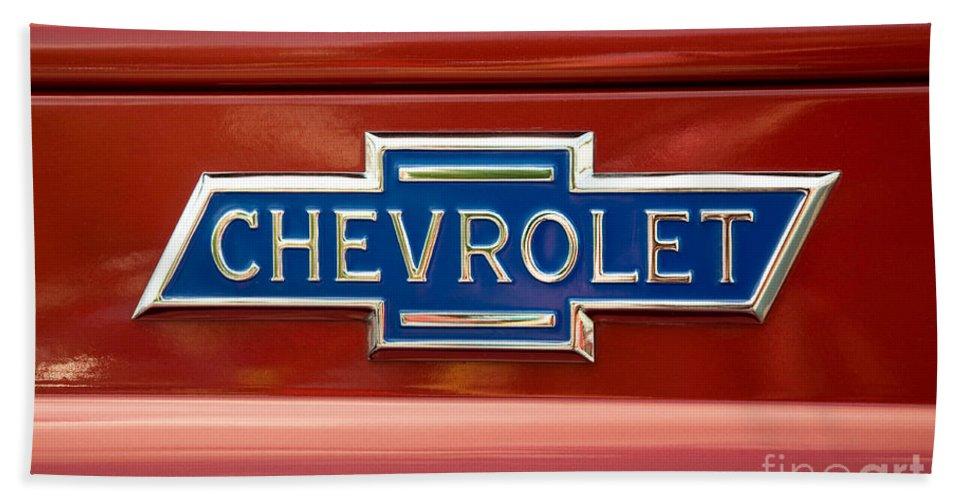Chevrolet Bath Sheet featuring the photograph Chevrolet Emblem by Vivian Christopher