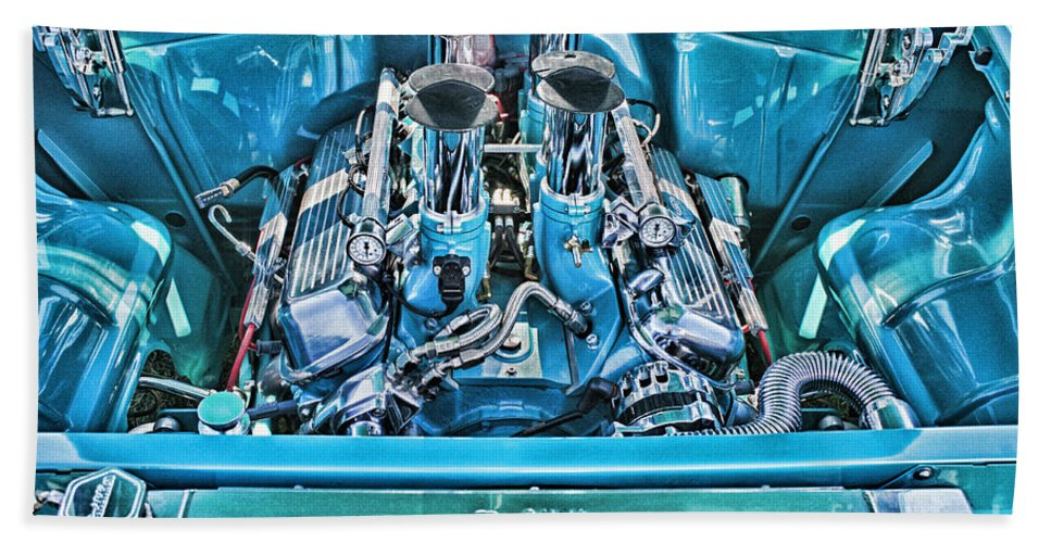 Cars Hand Towel featuring the photograph Chevy Engine Hdr by Randy Harris