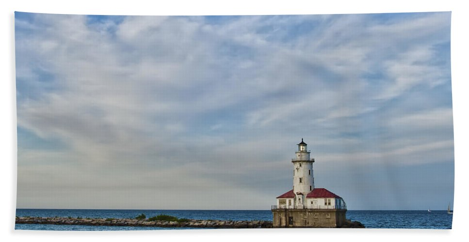 Lighthouse Hand Towel featuring the photograph Chicago Lighthouse by Scott Wood
