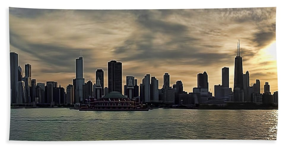 Navy Hand Towel featuring the photograph Chicago Skyline Navy Pier by Scott Wood