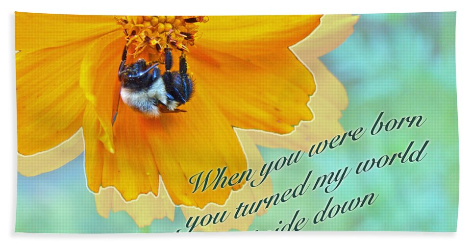 Birthday Hand Towel featuring the photograph Child Birthday Greeting From Parent Parents - Cosmos And Bumblebee by Mother Nature