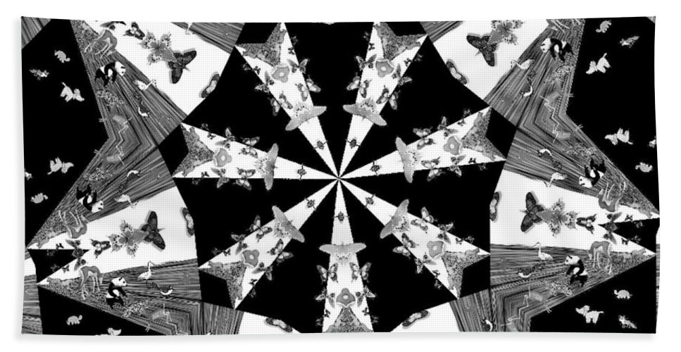 Butterflies Bath Towel featuring the photograph Children Animals Kaleidoscope Black And White by Donna Brown