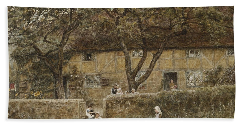 English; Landscape; C19th; C20th; Victorian; Child; Girl; Female; Family; Gate; Gateway; Chickens Bath Sheet featuring the painting Children Outside A Cottage by Helen Allingham