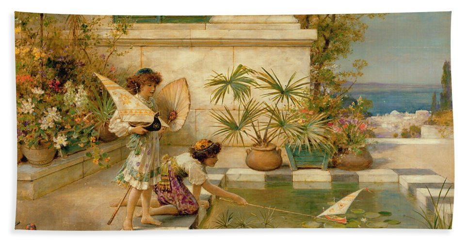 Children Bath Sheet featuring the painting Children Playing With Boats by William Stephen Coleman
