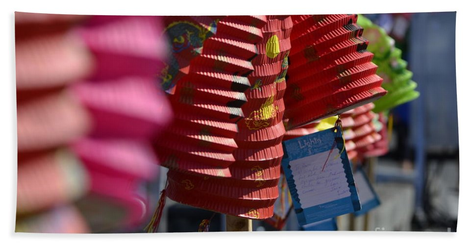 Dragon Boat Races Hand Towel featuring the photograph Chinese Lanterns by Traci Cottingham