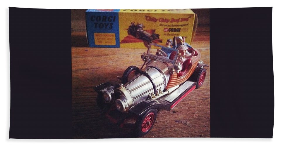 Car Bath Towel featuring the photograph Chitty Chitty Bang Bang Corgi Toy by Katie Cupcakes