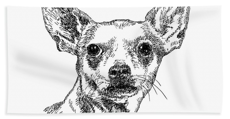 Chiwawa Bath Sheet featuring the drawing Chiwawa-portrait-drawing by Gordon Punt