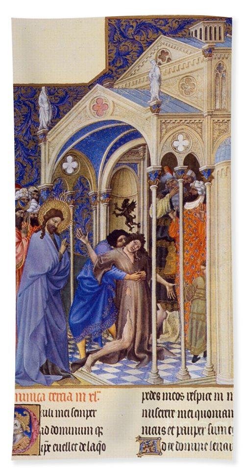 Berry Hand Towel featuring the photograph Christ Exorcising A Demon From A Possessed Youth: Illumination From The 15th Century Ms. Of The Tres Riches Heures Of Jean, Duke Of Berry by Granger