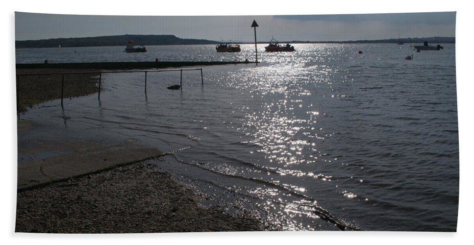 Christchurch Harbour Hand Towel featuring the photograph Christchurch Harbour Viewed From Mudeford by Chris Day